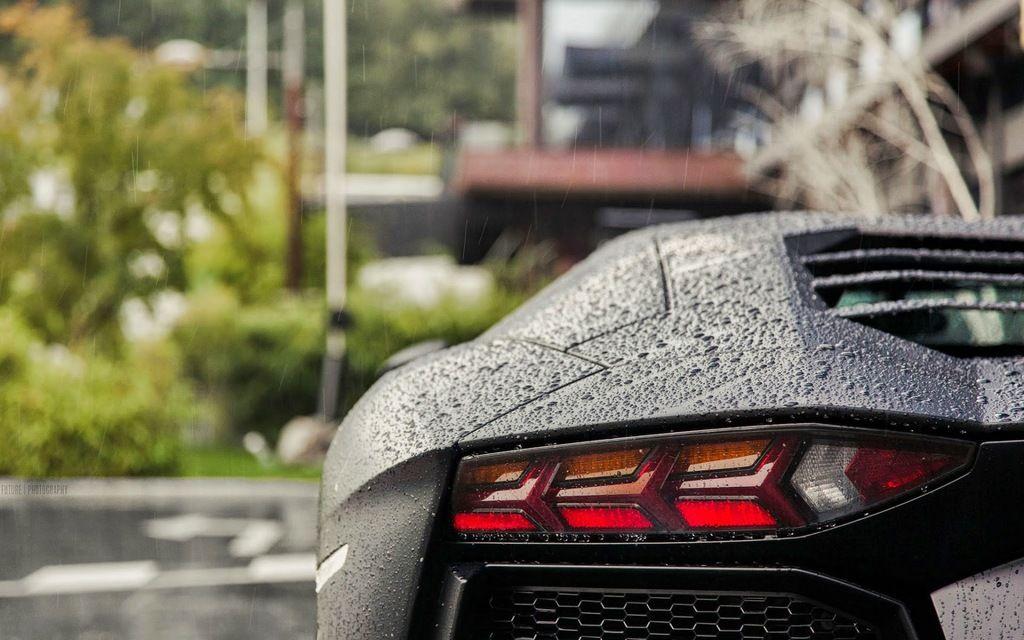 Car lamborghini rear water drops rain hd wallpaper jpg