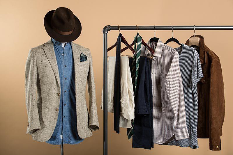 Mens capsule wardrobe june 2017 blazer shirts pants hat ties 800x533 jpg