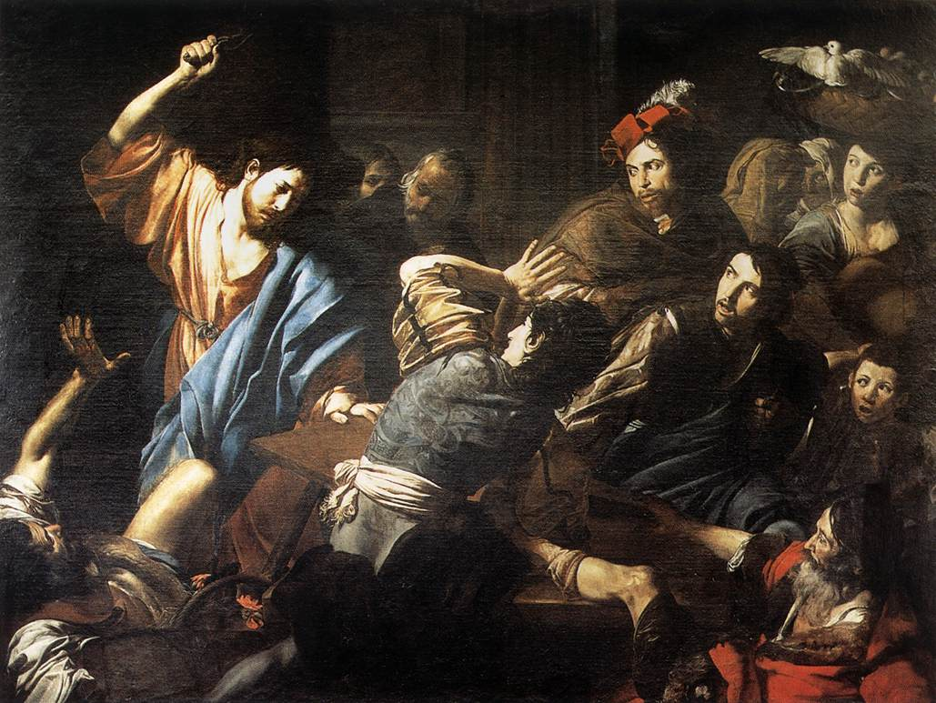 Valentin de boulogne christ driving the money changers out of the temple jpg