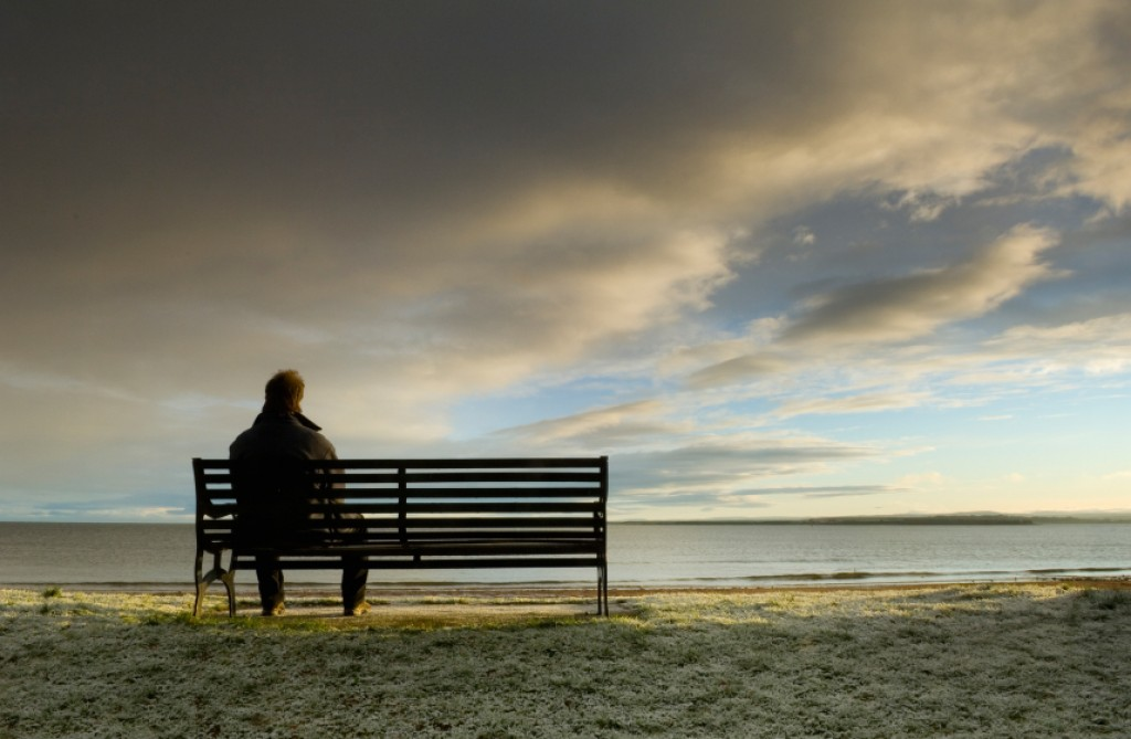Lonely man on bench jpg